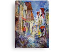 Shopping In The Rain - Umbrellas Art Gallery Canvas Print