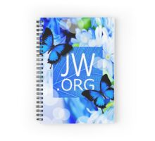 JW.ORG (Blue flowers and butterflies) Spiral Notebook