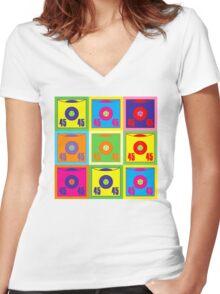45 Record Pop Art Women's Fitted V-Neck T-Shirt