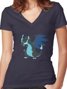 Mega-Charizard X Minimalist Women's Fitted V-Neck T-Shirt