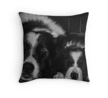 Sleeping Menaces Black and White Throw Pillow
