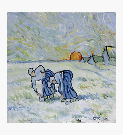 My version of a Van Gogh Painting - Two Peasant Women Digging in Field with Snow (1853-1890) Photographic Print