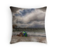 Family Day at The Beach Throw Pillow