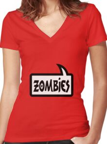 ZOMBIES SPEECH BUBBLE by Zombie Ghetto Women's Fitted V-Neck T-Shirt