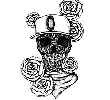 Ornate skull and roses by litedawn