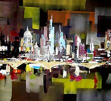 London City Skyline Abstract Painting by Eraclis Aristidou
