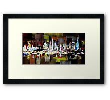 London City Skyline Abstract Painting Framed Print