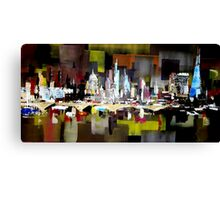 London City Skyline Abstract Painting Canvas Print