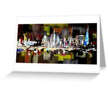London City Skyline Abstract Painting Greeting Card
