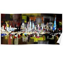 London City Skyline Abstract Painting Poster
