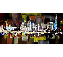 London City Skyline Abstract Painting Photographic Print