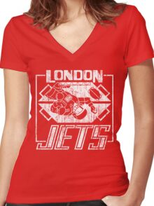 London Jets Distressed Women's Fitted V-Neck T-Shirt