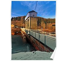 Hydropower station in winter wonderland | architectural photography Poster
