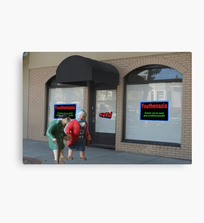 A poor business name and slogan practically guaranteed the quick demise of the new store. Canvas Print