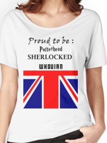 Proud to be : pottered, sherlocked, whovian Women's Relaxed Fit T-Shirt