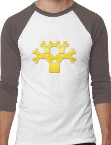 Pythagoras Tree Fractal, Patterns Of Creation, Mathematics, Geometic Men's Baseball ¾ T-Shirt