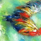 Rooster on green painting  by artistpixi
