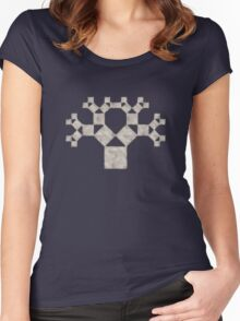 Pythagoras Tree Fractal, Patterns Of Creation, Mathematics, Geometic Women's Fitted Scoop T-Shirt