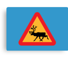 Caution Reindeer Sign Canvas Print