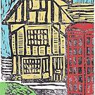 English Tudor House Linocut by adrienne75