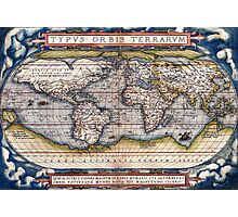 1564 World Map by Ortelius Photographic Print