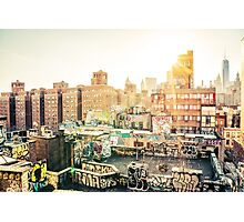 Graffiti Rooftops at Sunset - Chinatown - New York City Photographic Print