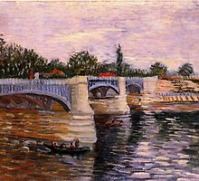 The Seine with the Pont del Grande Jette by Van Gogh. Vintage river landscape oil painting. by naturematters