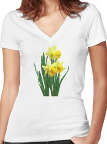 Daffodils Tall and Short Women's Fitted V-Neck T-Shirt