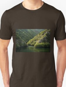 Green Sylvan Mountains, Tumbling into a Silky Forest Lake T-Shirt