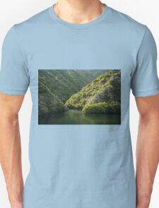 Green Sylvan Mountains, Tumbling into a Silky Forest Lake Unisex T-Shirt