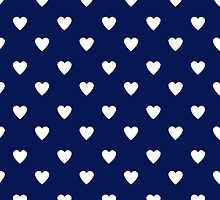 Cute Navy Blue White Heart Pattern by cikedo