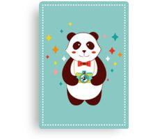 Cute Panda Photographer  Canvas Print