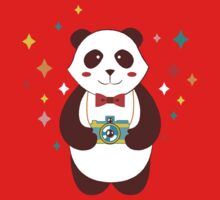 Cute Panda Photographer  Kids Tee