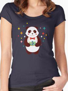 Cute Panda Photographer  Women's Fitted Scoop T-Shirt