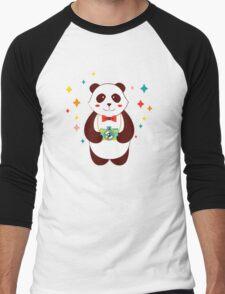 Cute Panda Photographer  Men's Baseball ¾ T-Shirt