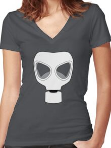 ZOMBIE APOCALYPSE GASMARK by Zombie Ghetto Women's Fitted V-Neck T-Shirt
