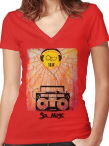 Sol Music - Black Letters Women's Fitted V-Neck T-Shirt
