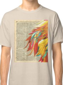 Colourful flaming feathers over old encyclopedia page Dictionary Art Classic T-Shirt