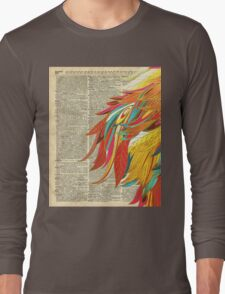 Colourful flaming feathers over old encyclopedia page Dictionary Art Long Sleeve T-Shirt
