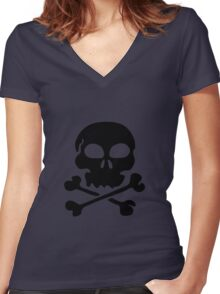 SKULL AND CROSSBONES by Zombie Ghetto Women's Fitted V-Neck T-Shirt
