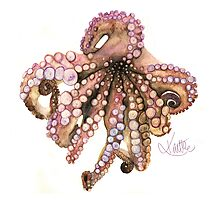 Watercolor Pencil Octopus Photographic Print