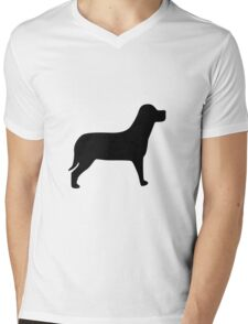 Black Labrador Mens V-Neck T-Shirt