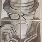 RBE - The coffee Man -4 ACEO cards by Tracey Pearce
