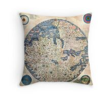 1458 World Map by Fra Mauro Throw Pillow