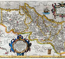 1560 Map of Portugal by Ortelius by Pablo Romero