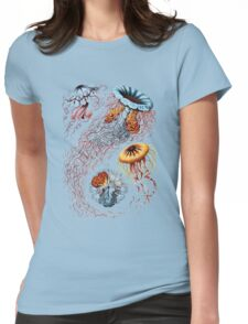 Colourful Jellyfish Marine Animals Illustration Vintage Dictionary Book Page,Discomedusae Womens Fitted T-Shirt