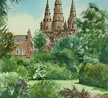 Lichfield Cathedral from Beacon Park by Lynne  Kirby