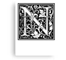 Decorative Letter N Canvas Print