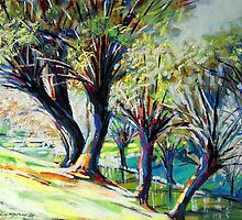 Willows on the river bank by Roman Burgan