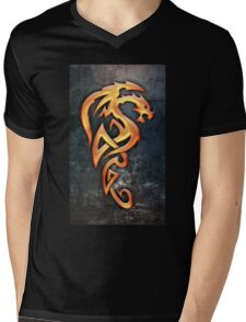 Golden Dragon Mens V-Neck T-Shirt